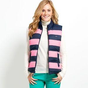 Vineyard vines striped puffer vest sz L